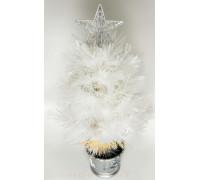 Искусственная новогодняя елка в горшке 60 см белая со звездой и гирляндой