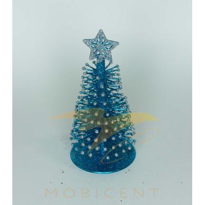 Новогодняя елка сувенирная голубого цвета, высота 16 см.