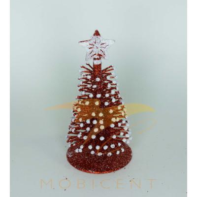 Новогодняя елка сувенирная красного цвета, высота 16 см.