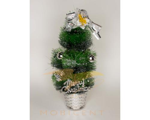 Елочка настольная в горшке marry christmas с цветком, шариками и жемчугоми, высота 35 см