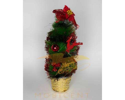 Ель настольная в горшке marry christmas с цветком, оленем и шаром, высота 35 см