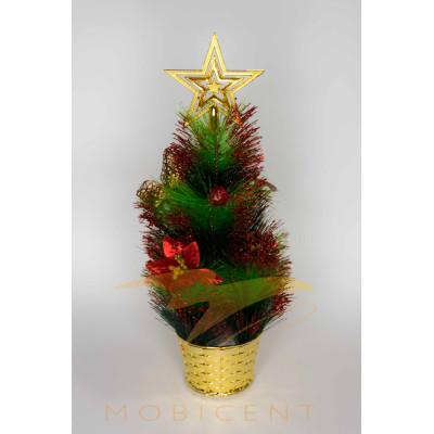 Елочка настольная в горшке со звездой и большим цветком, высота 35 см