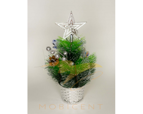 Ель настольная в горшке с украшениями серебряного цвета, высота 30 см
