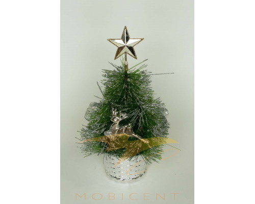 Ель настольная в горшке с украшениями серебряного цвета, высота 20 см