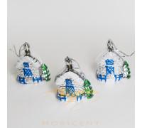 Набор елочных игрушек в виде домиков белых 3 шт