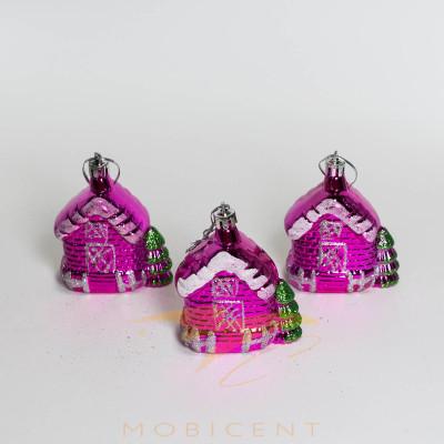 Набор елочных игрушек в виде домиков розовых 3 шт