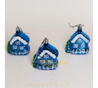 Набор елочных игрушек в виде домиков синих 3 шт