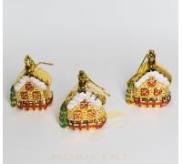 Набор елочных игрушек в виде домиков золотистых 3 шт