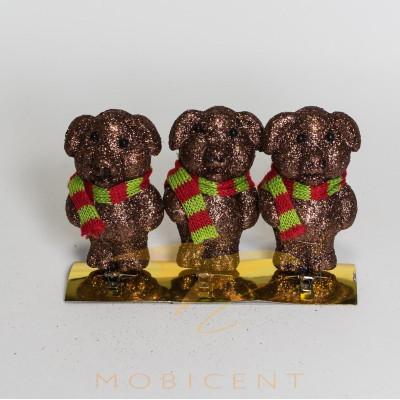 Набор елочных игрушек в виде поросят коричневых с шарфом 3 шт