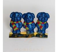 Набор елочных игрушек в виде поросят синих с шарфом 3 шт