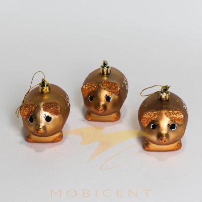 Набор елочных игрушек в виде поросят золотистых 3 шт