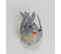 Набор елочных игрушек в виде птичек серебряного цвета