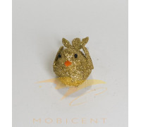 Набор елочных игрушек в виде птичек золотого цвета