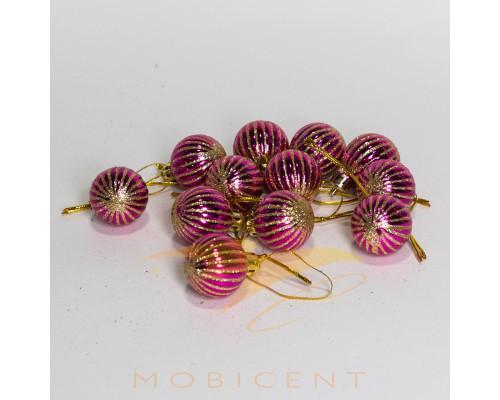 Набор елочных игрушек в виде шариков розовых 12 шт