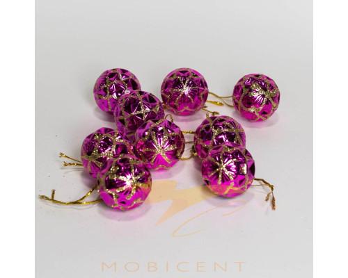 Набор елочных игрушек в виде шариков розовых 9 шт