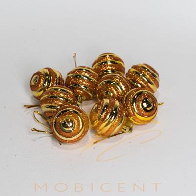 Набор елочных игрушек в виде шариков золотистых 9 шт