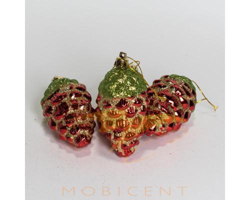 Набор елочных игрушек в виде шишек красных 4 шт