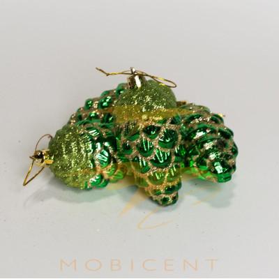 Набор елочных игрушек в виде шишек зеленых 4 шт