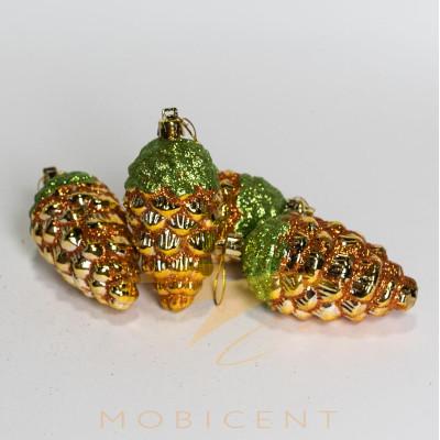 Набор елочных игрушек в виде шишек золотых 4 шт