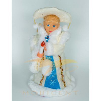 Фигура Снегурочки в бело-синей шубе со свечой и муфтой высотой 40 см