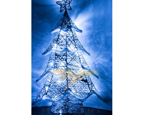 Елка светящаяся серебряного цвета высотой 61 см