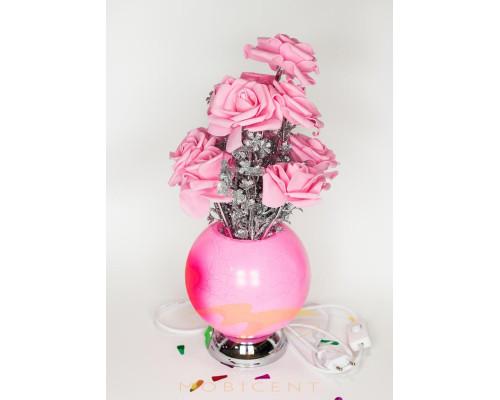 Лампа в виде букета роз в вазе высота 37 см