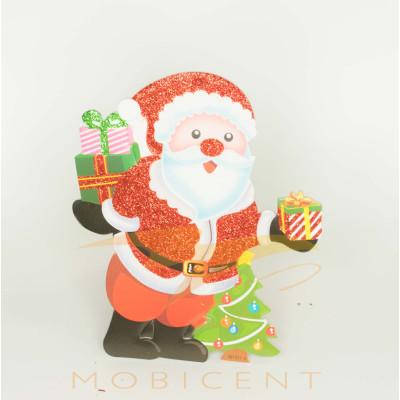 Дед мороз картонный подвесной с подарками и елкой, размер 20 см.