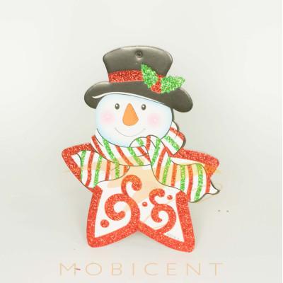 Снеговик-звезда картонный подвесной, размер 20 см.