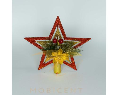 Звезда красного цвета большая, размер 20 см.