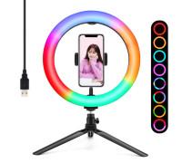 Кольцевая лампа  RGB LED MJ26 26 см с держателем для смартфона на настольной треноге, 15 цветовых схем и 10 ступеней яркости
