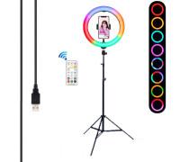 Кольцевая светодиодная селфи лампа RGB M26 для фото с держателем для телефона со штативом, с режимами (мультиколор) диаметр - 26 см