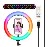 Кольцевая светодиодная селфи лампа RGB M26 для фото с держателем для телефона, с режимами (мультиколор), диаметр лампы - 26 см