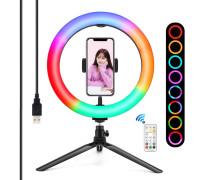 Кольцевая светодиодная селфи лампа M26 для фото с держателем для телефона на настольной треноге, с RGB режимами (мультиколор) диаметр - 26 см