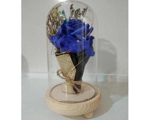 Букет в колбе, высота 21 см, цвет синий