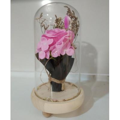 Букет в колбе, высота 21 см, цвет розовый