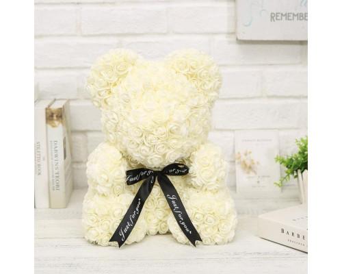 Мишка из роз 40 см белый