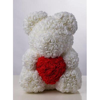 Мишка из роз 40 см белый с красным сердцем