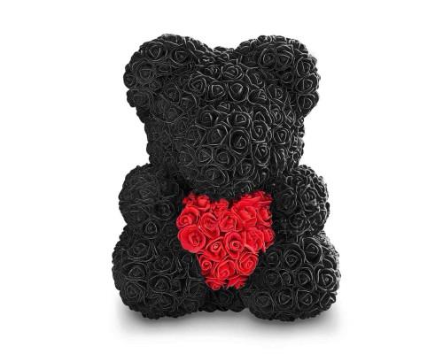 Мишка из роз 40 см черный с красным сердцем