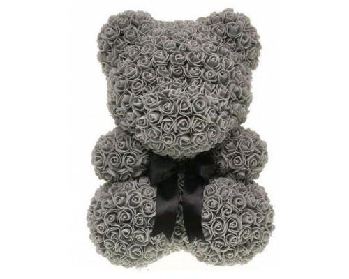 Мишка из роз 40 см темно-серый