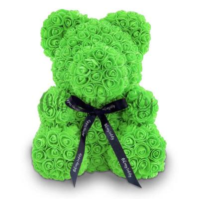 Мишка из роз 25 см зеленый
