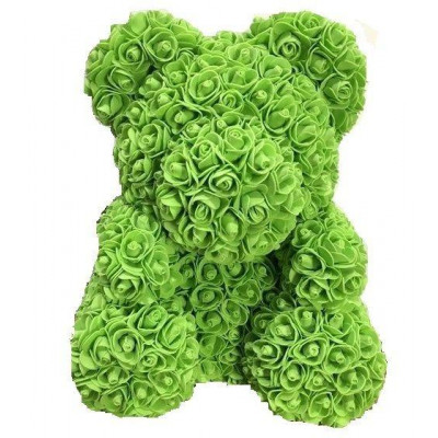 Мишка из роз 40 см зеленый