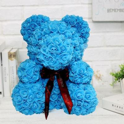 Мишка из роз 40 см голубой