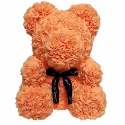 Мишка из роз 25 см оранжевый
