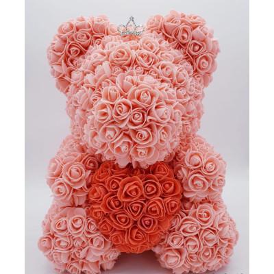 Мишка из роз 40 см оранжевый с красным сердцем