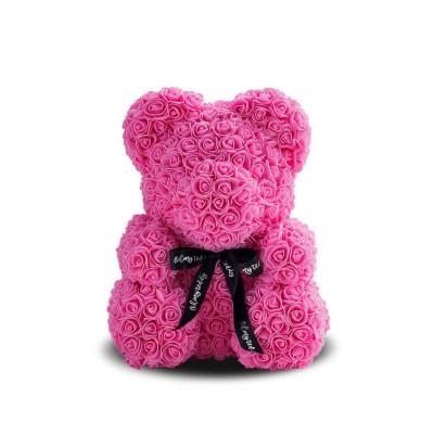 Мишка из роз 25 см розовый