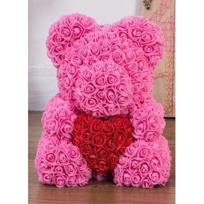 Мишка из роз 40 см розовый с красным сердцем