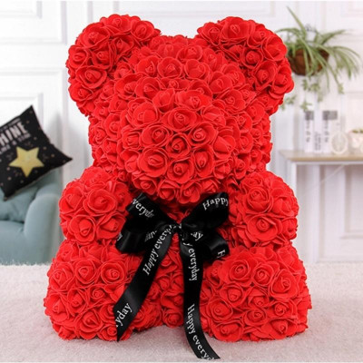 Мишка из роз 40 см красный