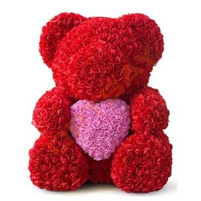 Мишка из роз 40 см красный с розовым сердцем