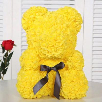 Мишка из роз 40 см желтый