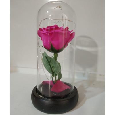 Вечная роза в колбе, высота 20 см, цвет розовый
